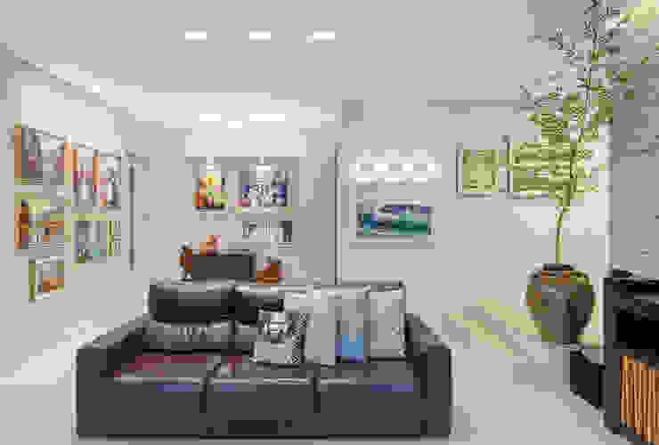 Sala com galeria de arte Salas de estar modernas por Carmen Calixto Arquitetura Moderno