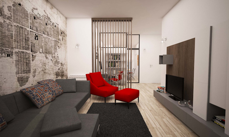 Salones de estilo industrial de LAB16 architettura&design Industrial
