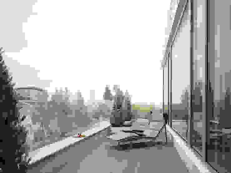 Minimalistyczny balkon, taras i weranda od премиум интериум Minimalistyczny