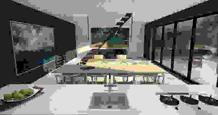 Villa Noir - View from kitchen Moderne keukens van Schneijderberg Architectuur & Design Modern