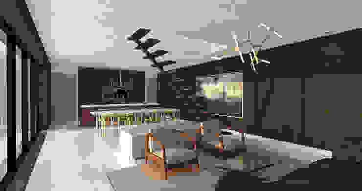 Villa Noir - View from kitchen Moderne woonkamers van Schneijderberg Architectuur & Design Modern