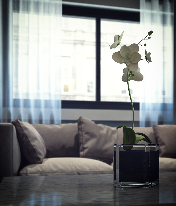 Modern living room by De I Studio - 3D Mimari Görselleştirme ve Animasyon Hizmetleri Modern