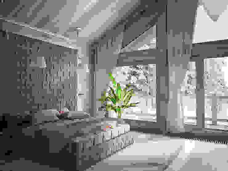 Загородный дом из бруса Спальня в стиле минимализм от премиум интериум Минимализм