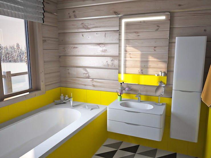 Загородный дом из бруса Ванная комната в стиле минимализм от премиум интериум Минимализм