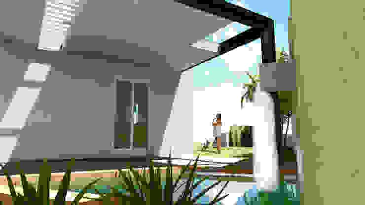 TERRAZA EL PALMAR Balcones y terrazas minimalistas de Flores Rojas Arquitectura Minimalista