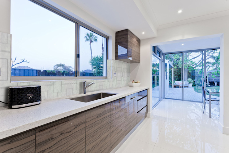 Etched Bianco Carrara in Silver Modern Kitchen by Elalux Tile Modern Metal