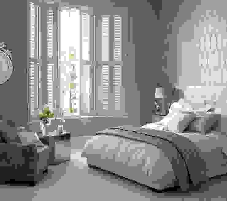 Kenilworth Wooden Shutters in a 3 sided bay Dormitorios clásicos de Thomas Sanderson Clásico Derivados de madera Transparente