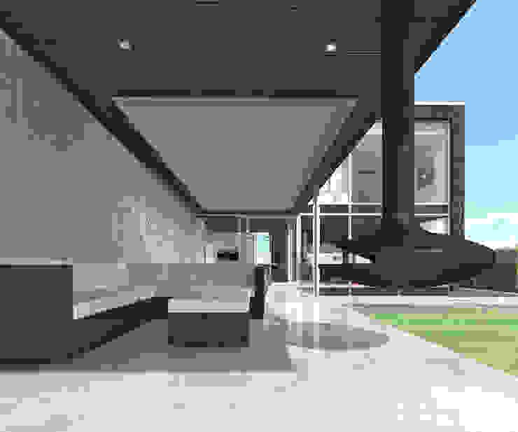 Overdekt Terras Moderne balkons, veranda's en terrassen van Lab32 architecten Modern Beton