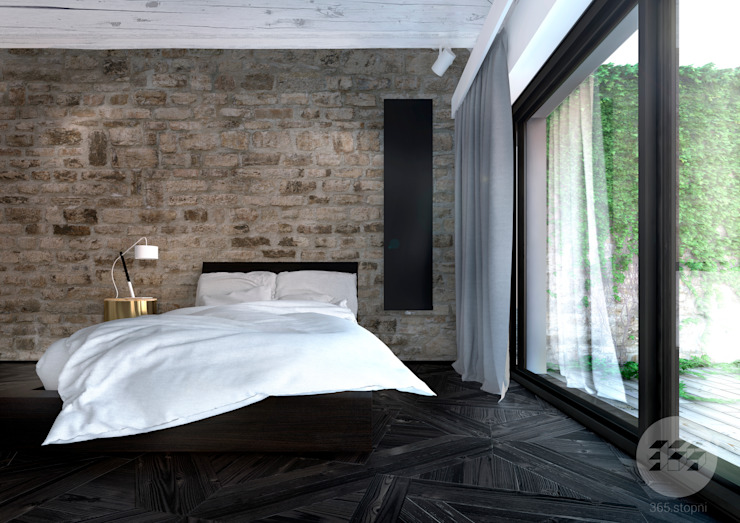 365 Stopni Minimalist bedroom Stone Wood effect