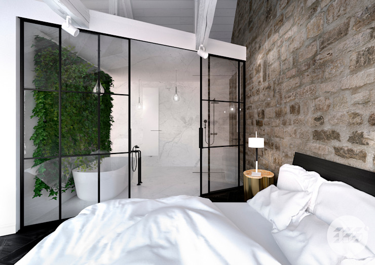 365 Stopni Minimalist bedroom Stone White