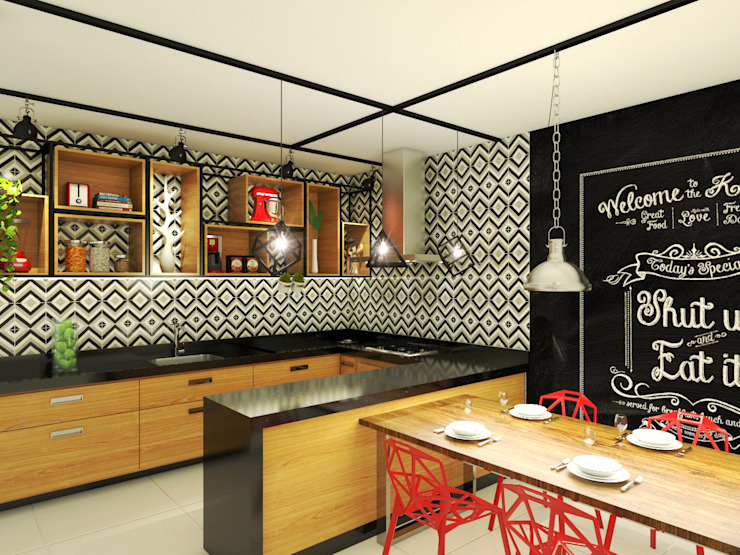 Industrial style kitchen by Bruna Rodrigues Designer de Interiores Industrial Wood Wood effect