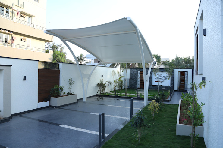 A tensile fabric car shed Modern Garage and Shed by Hasta architects Modern