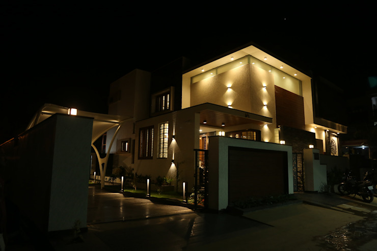 North east elevation- night view Modern houses by Hasta architects Modern