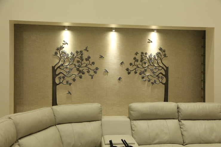 Niche in the living room to house the Tree Mural Modern living room by Hasta architects Modern