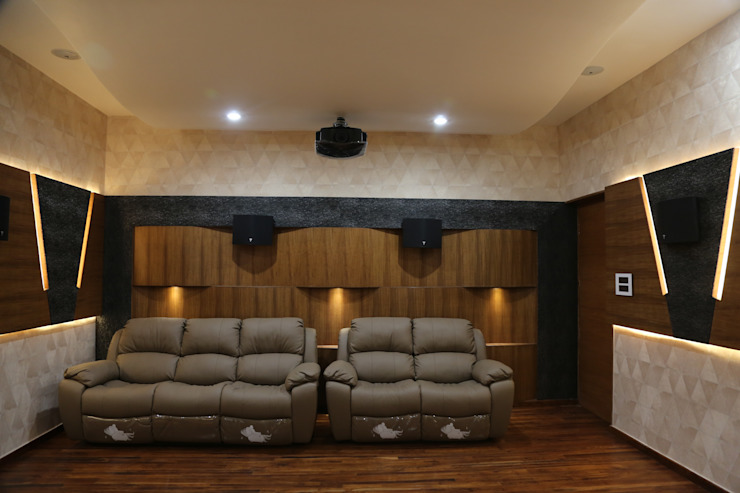 Home theatre seating Modern media room by Hasta architects Modern