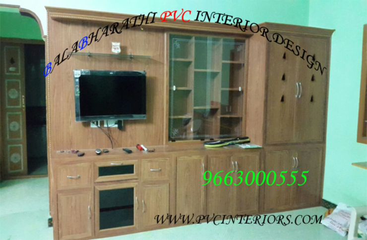 pvc tv showcase in coimbatore,pvc tv stand in coimbatore,LED tv showcase-balabharathi: modern  by balabharathi pvc interior design,Modern Wood-Plastic Composite