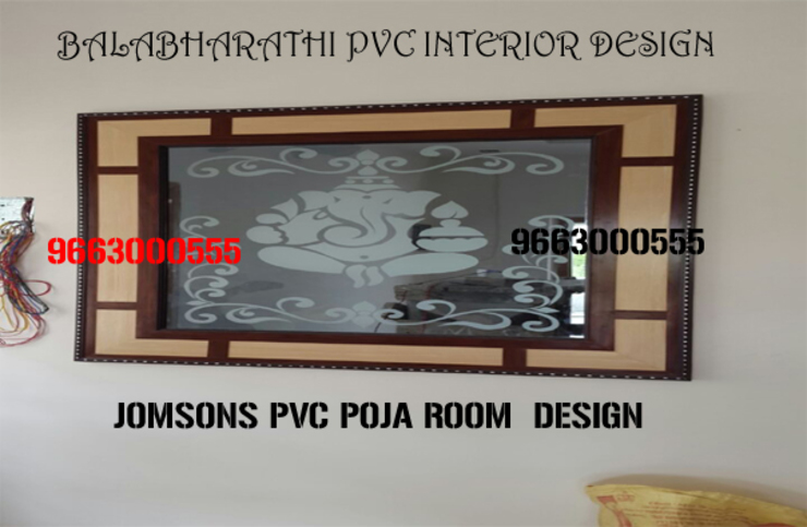 pvc pooja cabinets in coimbatore,pvc pooja room design in coimbatore-balabharathi Modern windows & doors by balabharathi pvc interior design Modern Plywood