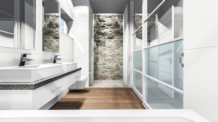 Hillside Gate:  Bathroom by Swart & Associates Architects, Modern