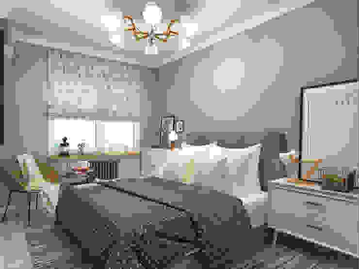 غرفة نوم تنفيذ AlexLadanova interior design, إسكندينافي