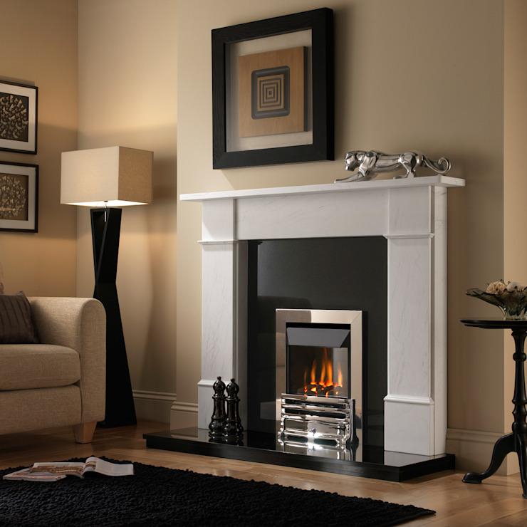 Grosvenor Grove Chrome High Efficiency Gas Fire de Superior Fires Moderno Metal