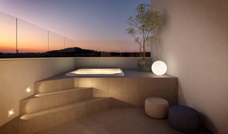Balcones y terrazas de estilo minimalista de RAFE Arquitetura e Design Minimalista Cerámico