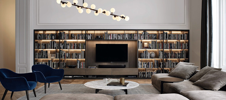tv-library-unit GN İÇ MİMARLIK OFİSİ İç Dekorasyon Ahşap Kahverengi