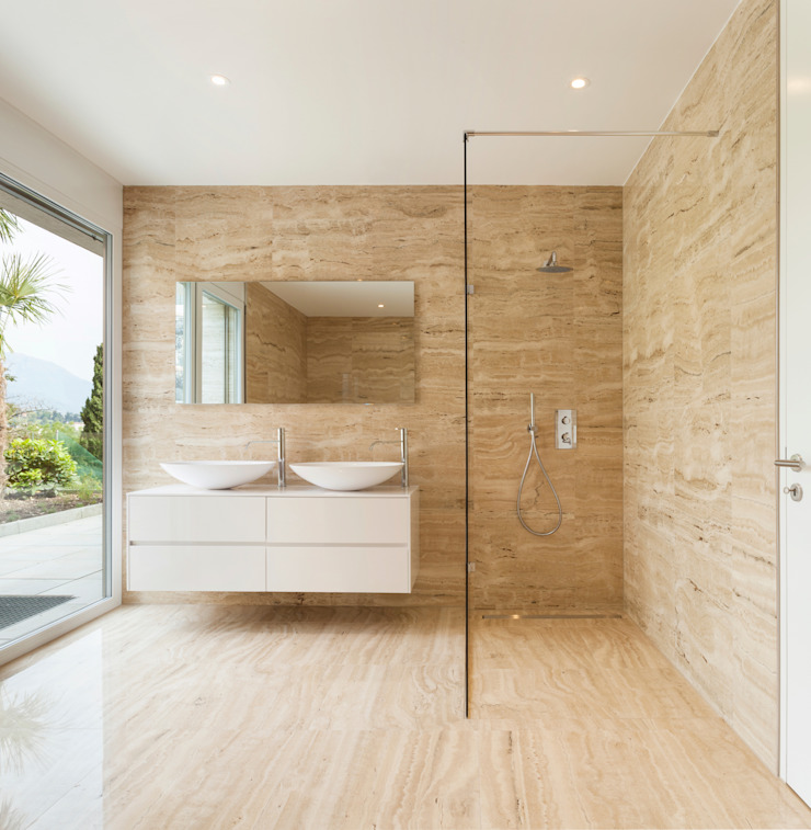Minimal Walk-in Shower Gracious Luxury Interiors Minimalist style bathroom Beige