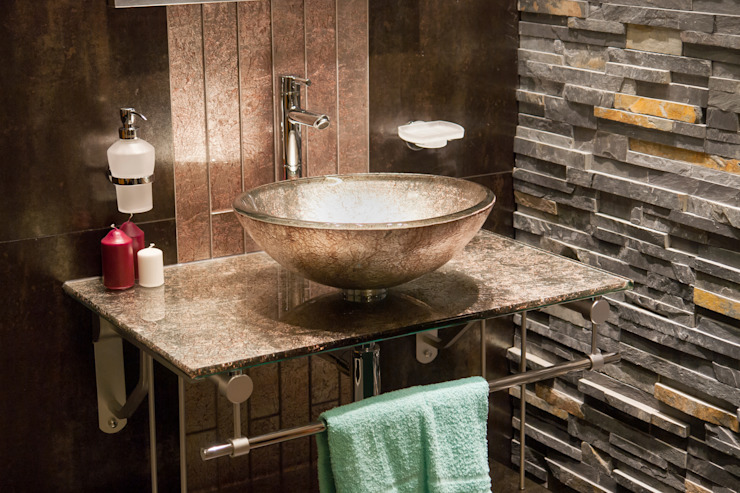 Exposed Brick, Statement Sink:  Bathroom by Gracious Luxury Interiors, Industrial