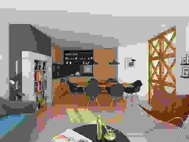Sala - APARTAMENTO - T1 - S. BENTO por EU LISBOA Moderno Madeira Acabamento em madeira