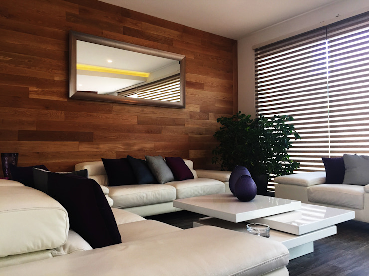 Living room by RAVE Arch, Modern Wood Wood effect