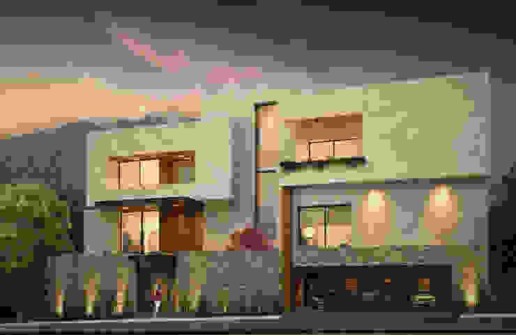 FACHADA PRINCIPAL Casas modernas de Rousseau Arquitectos Moderno Granito