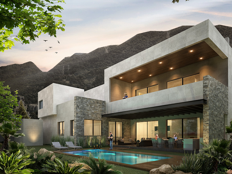 Rousseau Arquitectos Modern houses Stone Grey