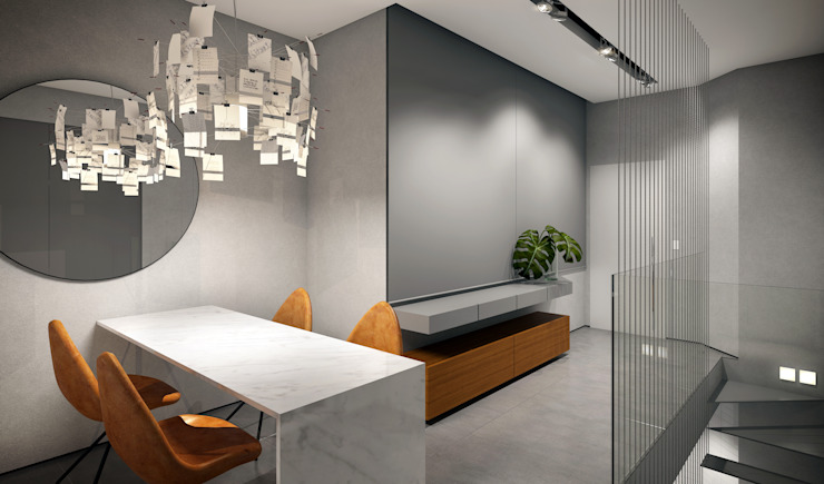 RAFE Arquitetura e Design Minimalist corridor, hallway & stairs Ceramic Grey