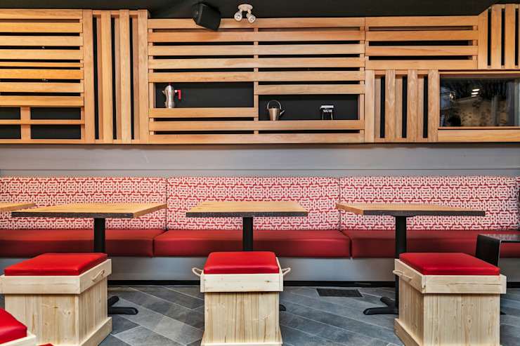 Bench seating area Alice D'Andrea Design Bars & clubs Wood Red