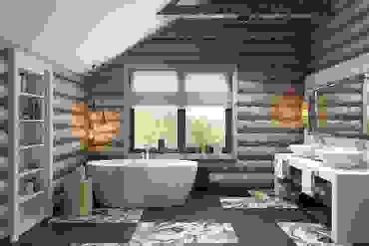 Просторная ванная комната: Ванные комнаты в . Автор – Дизайн студия Алёны Чекалиной, Лофт
