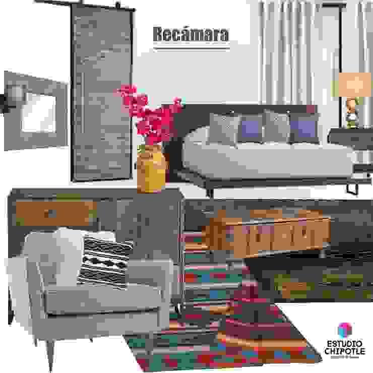 Recámara Dormitorios rústicos de Estudio Chipotle Rústico Madera maciza Multicolor