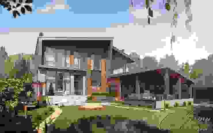 Шале с элементами деконструктивизма Дома в стиле кантри от Компания архитекторов Латышевых 'Мечты сбываются' Кантри