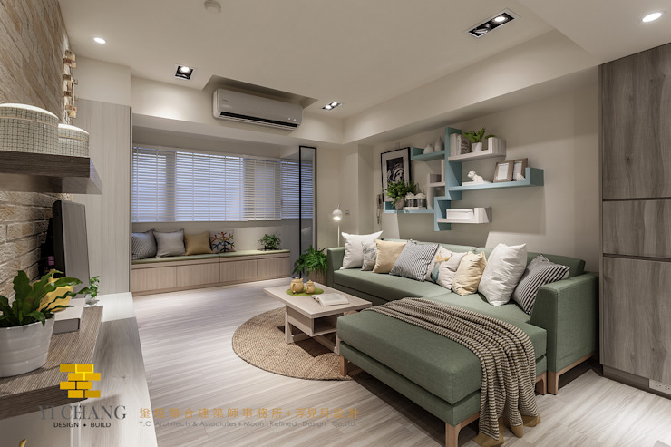 Rustic style living room by 垼程建築師事務所/浮見月設計工程有限公司 Rustic