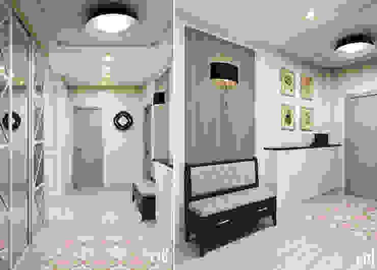 Center of interior design Eclectic corridor, hallway & stairs