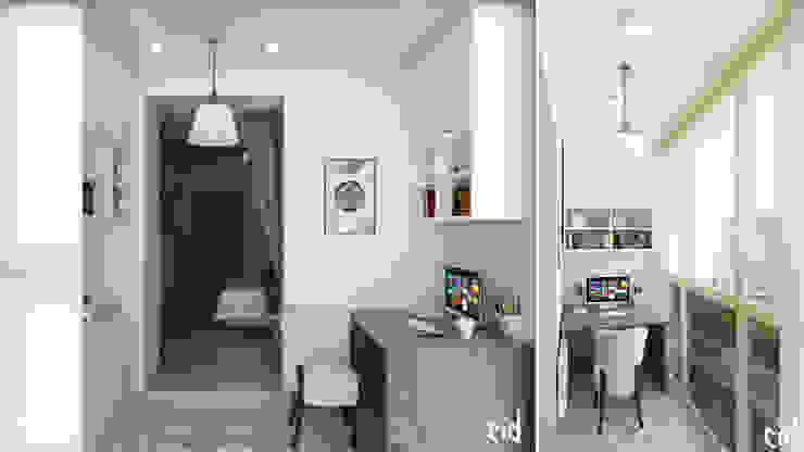 Center of interior design Eclectic style balcony, porch & terrace