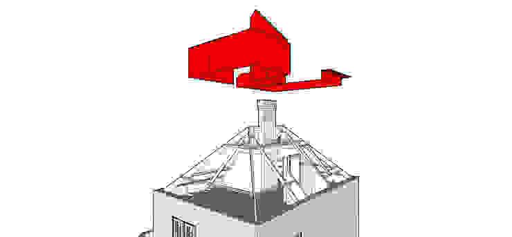 Huis SH, 3D tekening, Zolder, Oude situatie, Rood wordt verwijderd Moderne slaapkamers van Urban Pioneers Modern
