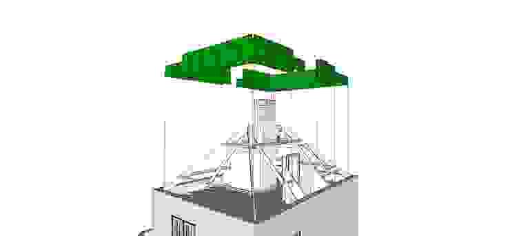 Huis SH, 3D tekening, Zolder, Nieuwe situatie, Groen Moderne slaapkamers van Urban Pioneers Modern