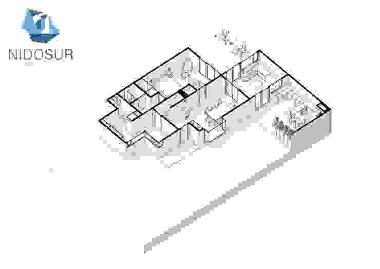 Proyección Axonometrica Primer Nivel de NidoSur Arquitectos - Valdivia Moderno