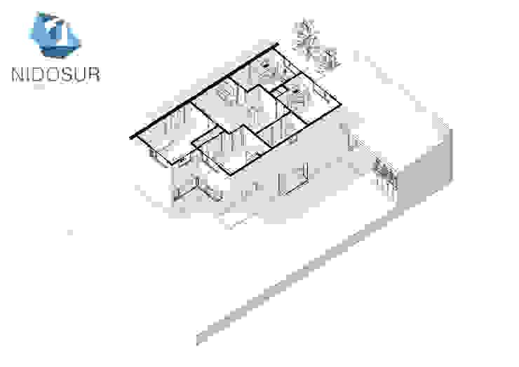 Proyección Axonometrica Segundo Nivel de NidoSur Arquitectos - Valdivia Moderno
