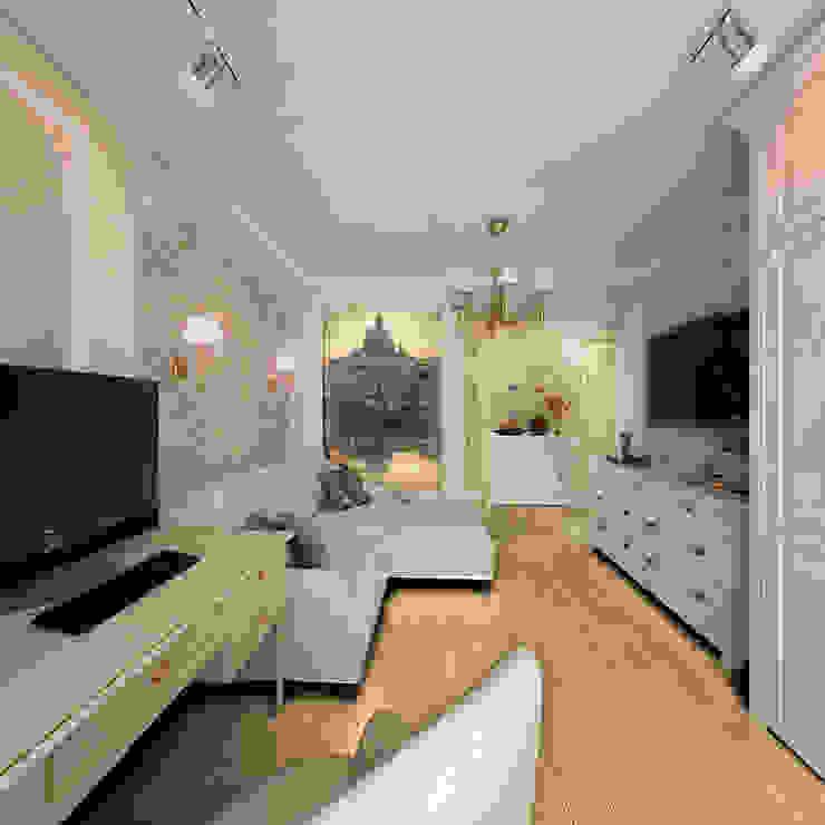 غرفة المعيشة تنفيذ Дизайн-бюро Анны Шаркуновой 'East-West',