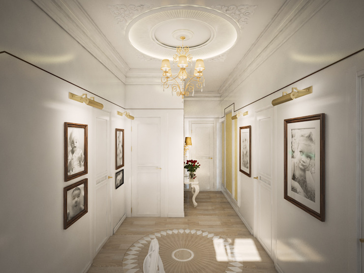 Classic style corridor, hallway and stairs by Дизайн-бюро Анны Шаркуновой 'East-West' Classic