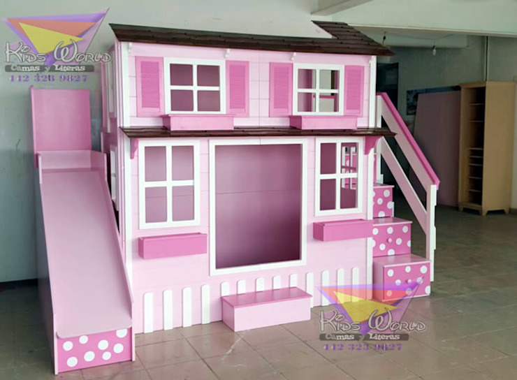 Encantadora casita de lunares de camas y literas infantiles kids world Clásico Derivados de madera Transparente
