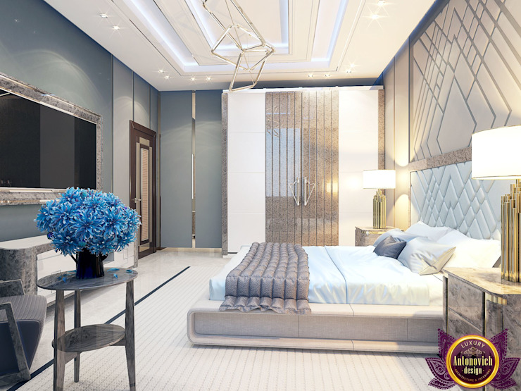 Contemporary style in interiors of Katrina Antonovich Modern style bedroom by Luxury Antonovich Design Modern