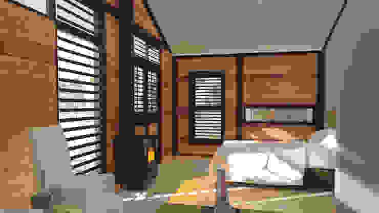 Steel Framed Home  - bedroom:  Bedroom by Edge Design Studio Architects