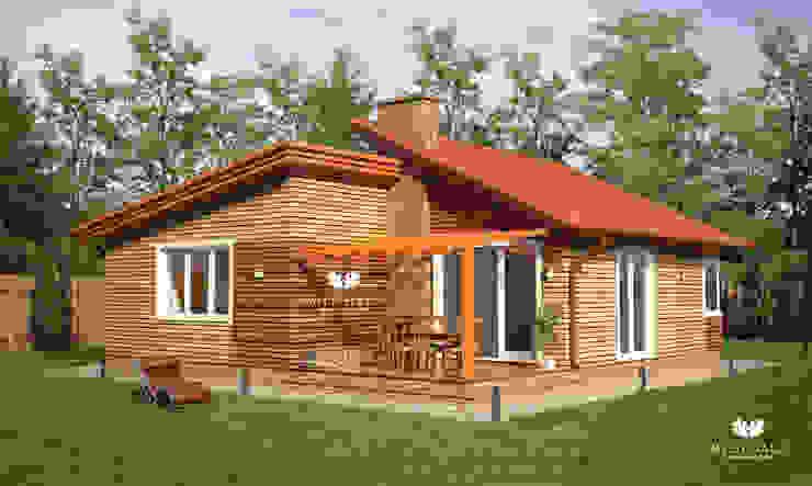 Casas de estilo escandinavo de Mild Haus Escandinavo Derivados de madera Transparente